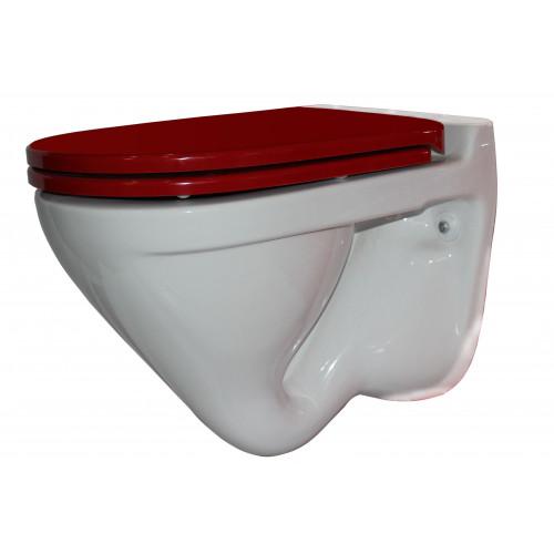 ATTICA LUX (RED) Унитаз-подвесной, сиденье дюропласт, Soft close, красный, SANITA LUX SL УнAL R