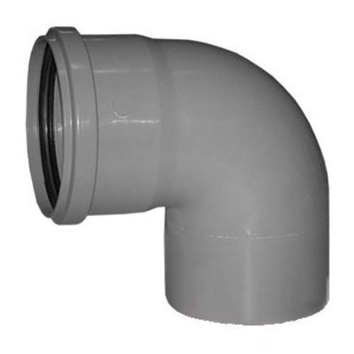 Отвод ПВХ 3.2 Ду 110 угол 90 гр. с кольцом