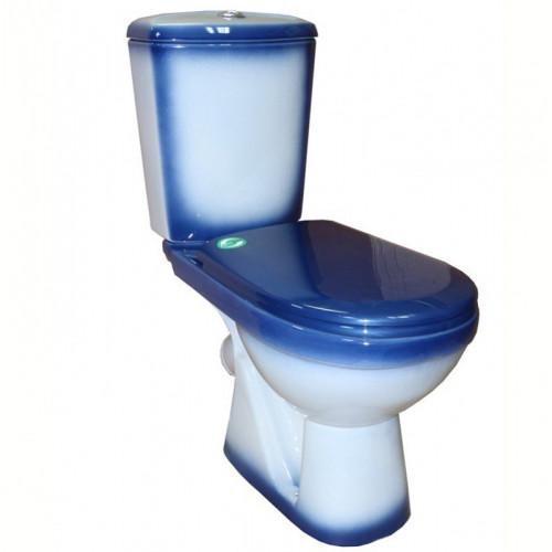 Унитаз - компакт наклонный выпуск, декор синий, Комфорт, Кировская керамика Rosa