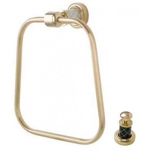 Держатель для полотенца кольцо Boheme Murano золтой с черным 10905-B-G