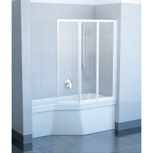 Шторка на ванну VS3 115x140, белая, Transparent, Ravak