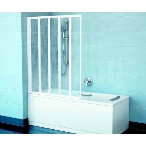 Шторка на ванну VS5 113x133, белый, Rain, Ravak