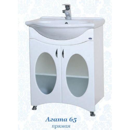 Агата-65 тумба со стеклом, белая, 62 см, с раковиной, Bellezza