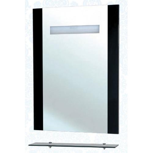 Зеркало с полкой, внутренняя подсветка, черное, Берта-75, Bellezza