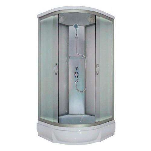 Душевая кабина 80x80 полукруглая, матовое стекло, профиль матовый хром, Nara, River