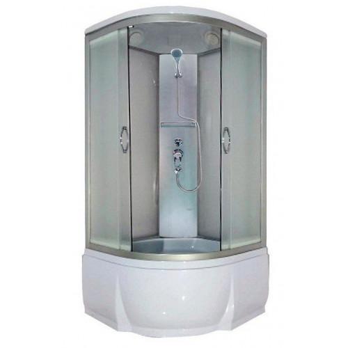 Душевая кабина 100x100 полукруглая, матовое стекло, профиль матовый хром, Nara, River