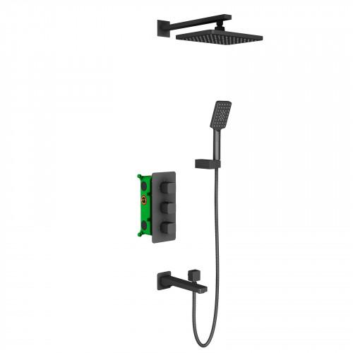 Душевая система для ванной с термостатом чёрная Timo Petruma SX-5049/03SM