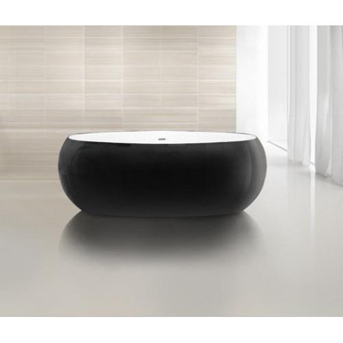 Ванна 180x90 свободностоящая акриловая, внешняя сторона черная, BB18-Nero/Bia, Belbagno