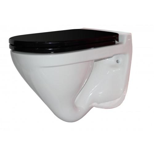 ATTICA LUX (BLACK) Унитаз-подвесной, сиденье дюропласт, Soft close, черный, SANITA LUX SL УнAL B