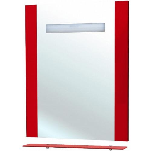 Берта-75 зеркало с полкой, 73 см, черное, красное, бежевое, внутренняя подсветка, Bellezza