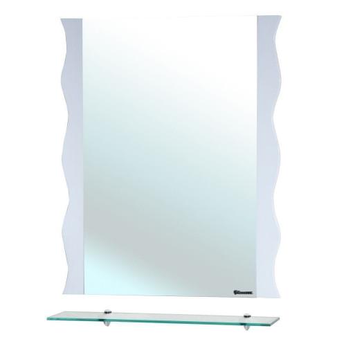 Мари-70 Волна, зеркало с полкой, 68 см, белое, Bellezza
