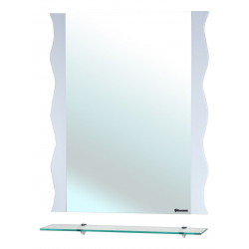 Мари-80 Волна, зеркало с полкой, 78 см, белое, Bellezza