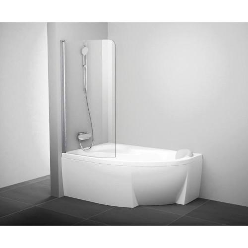 Шторка для ванны одностворчатая, 85 см, левая, хром - прозрачная, CVSK1, Ravak