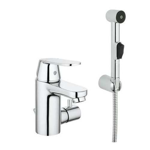 Смеситель однорычажный для раковины S-Size, с гигиеническим душем и запорным клапаном, Eurosmart Cosmopolitan, Grohe
