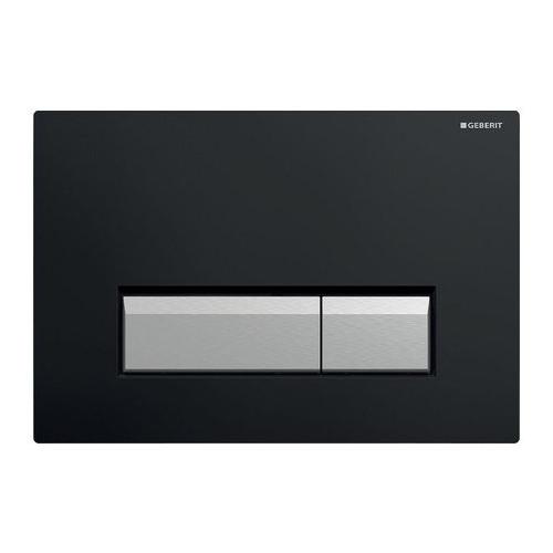 Смывная клавиша, двойной смыв, со встроенной очисткой воздуха, пластик черный/матовый алюминий, Sigma40, Geberit