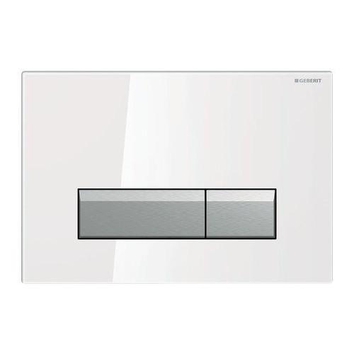 Смывная клавиша, двойной смыв, со встроенной очисткой воздуха, стекло белый/матовый алюминий, Sigma40, Geberit