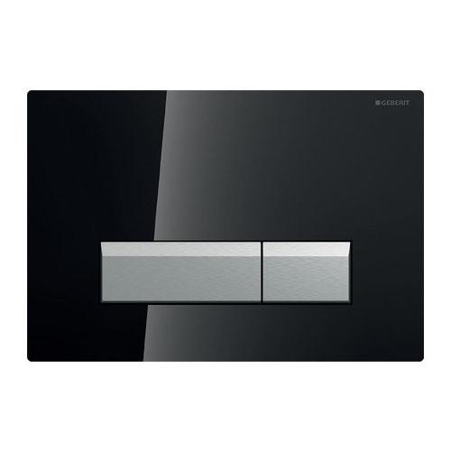 Смывная клавиша, двойной смыв, со встроенной очисткой воздуха, стекло черный/матовый алюминий, Sigma40, Geberit