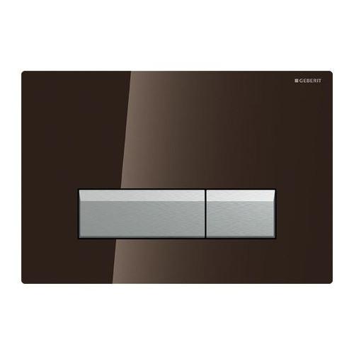 Смывная клавиша, двойной смыв, со встроенной очисткой воздуха, стекло умбра/матовый алюминий, Sigma40, Geberit