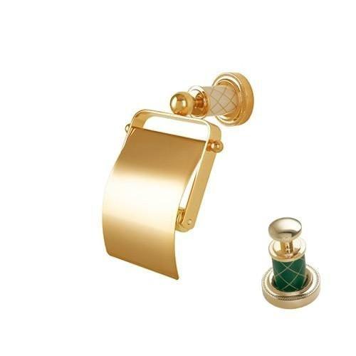 Держатель для туалетной бумаги с крышкой Boheme Murano золтой шоколад 10901-CH-G