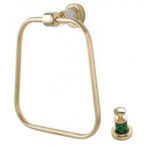 Держатель для полотенца кольцо Boheme Murano золтой с зеленым 10905-GR-G