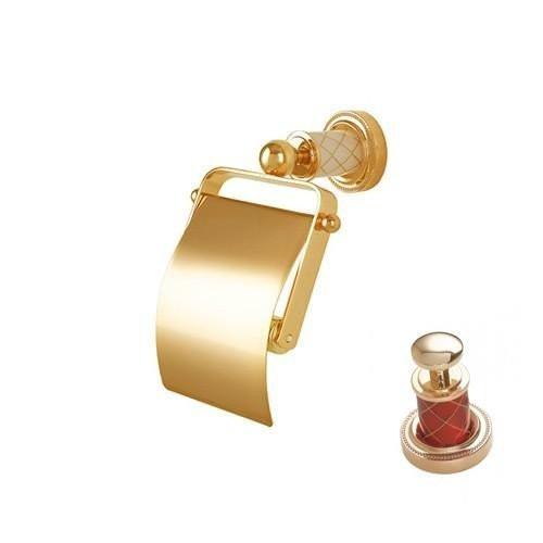 Держатель для туалетной бумаги с крышкой Boheme Murano золтой с зеленым 10901-GR-G