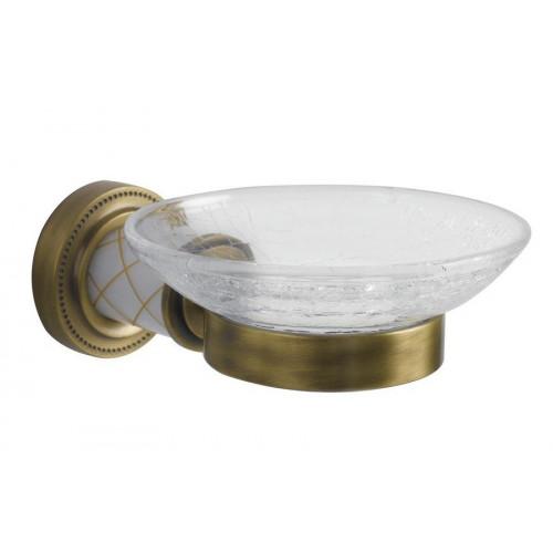 Мыльница настенная стекло Boheme Murano бронза с белым 10903-W-BR