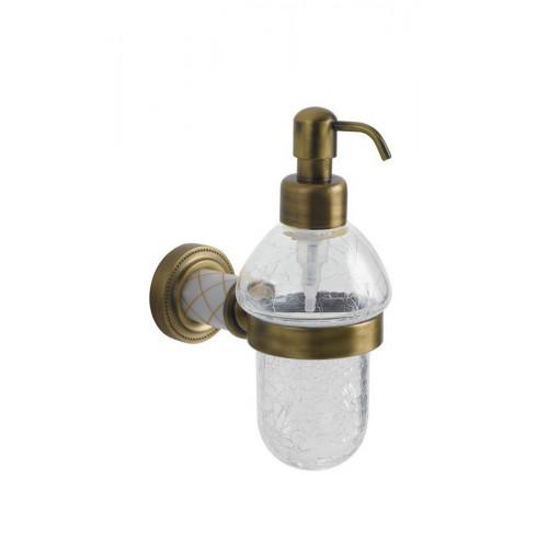 Диспенсер стекло настенный Boheme Murano бронза с белым 10912-W-BR