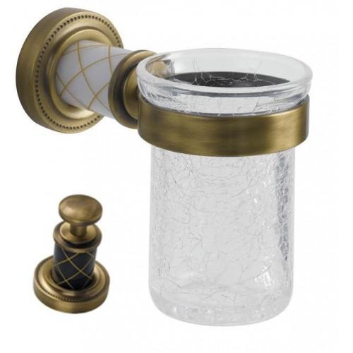 Стакан для зубных щеток стекло настенный Boheme Murano бронза с белым 10904-W-BR