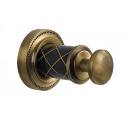 Крючок одинарный Boheme Murano бронза с белым 10906-W-BR
