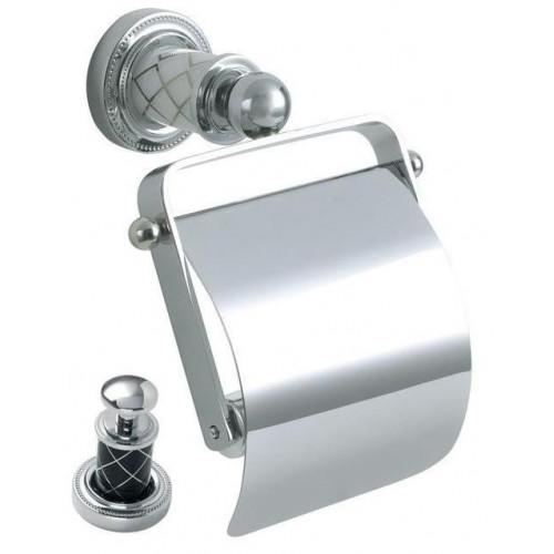 Держатель для туалетной бумаги с крышкой Boheme Murano хром с черным 10901-B-CR