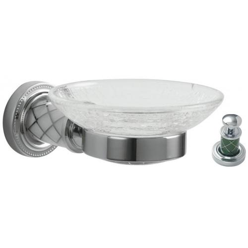 Мыльница настенная стекло Boheme Murano хром с белым 10903-W-CR