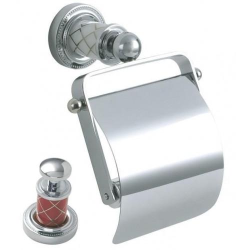 Держатель для туалетной бумаги с крышкой Boheme Murano хром рубин 10901-R-CR