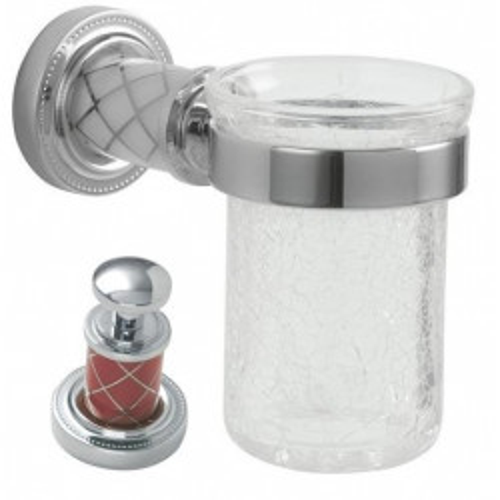 Стакан для зубных щеток стекло настенный Boheme Murano хром с белым 10904-W-CR