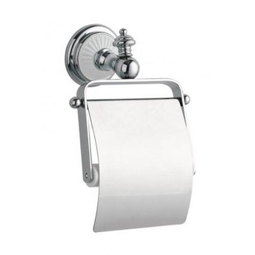 Держатель для туалетной бумаги с крышкой Boheme Vogue Nero хром с черным 10181