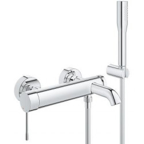 Смеситель для ванны однорычажный, хром, с гарнитуром, Essence New, Grohe