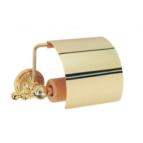 Держатель для туалетной бумаги с крышкой Boheme Murano золтой с белым 10901-W-G