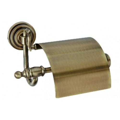 Держатель для туалетной бумаги с крышкой Boheme Murano бронза с белым 10901-W-BR