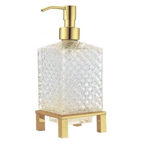 Дозатор для жидкого мыла квадратный настольный Boheme золото 10225