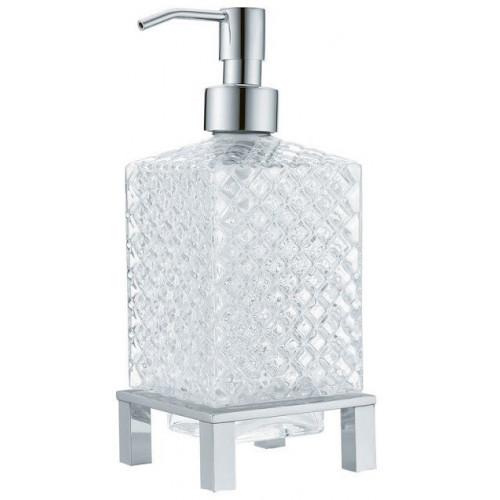 Дозатор для жидкого мыла квадратный настольный Boheme хром 10226