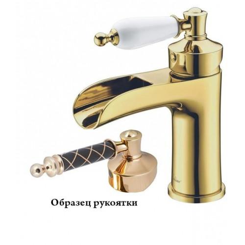 Смеситель для умывальника Boheme Vogue Murano золото с белым декором 211MGW