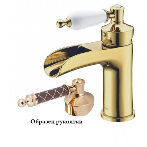Смеситель для умывальника Boheme Vogue Murano золото с красным декором 211MGR