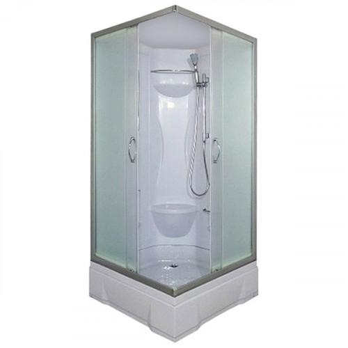 Душевая кабина 90x90 квадратная, матовое стекло, белый профиль, Neva, River