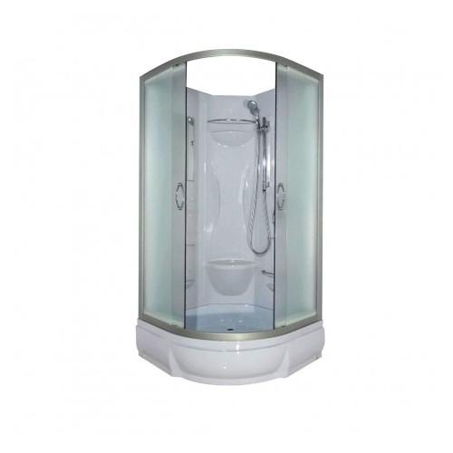 Душевая кабина 90x90 полукруглая, матовое стекло, профиль мат. хром, Rein, River
