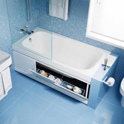 Экран откидной под ванну 150 см, МДФ Soft, белый, Alavann