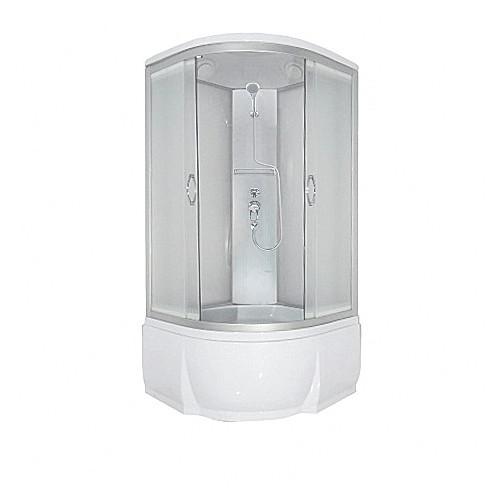 Душевая кабина 100x100 полукруглая, матовое стекло, Nara, River