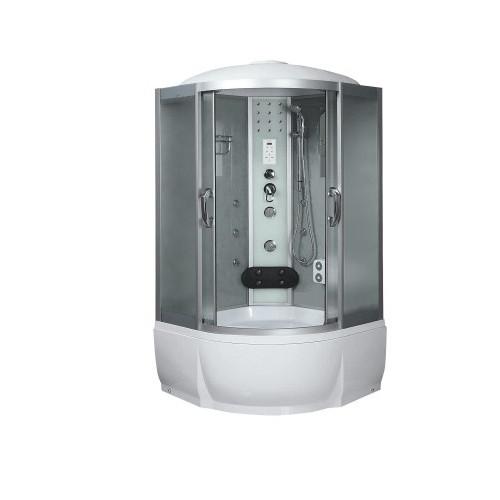 Душевая кабина 100x100 полукруглая, матовое стекло, профиль матовый хром, с гидромассажем, Temza, River