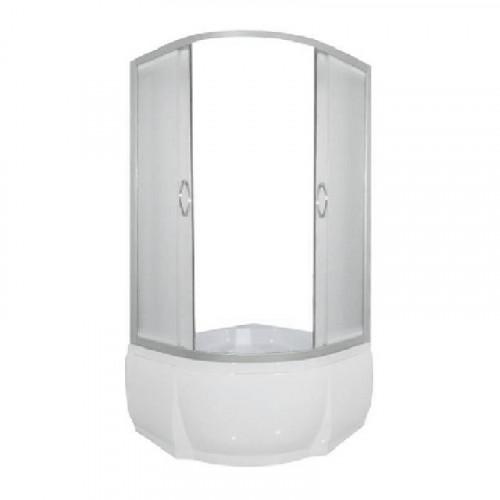 Душевое ограждение 90x90 полукруглое, мат. стекло, белый профиль, без поддона, DON, River