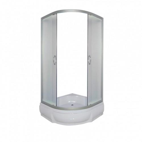 Душевое ограждение 100x100 полукруглое, мат. стекло, белый профиль, без поддона, DON, River