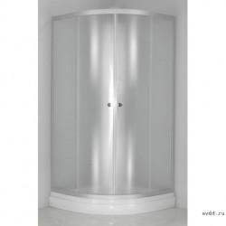 Душевое ограждение 100x100 полукруглое, матовое стекло, с низким поддоном, DON, River