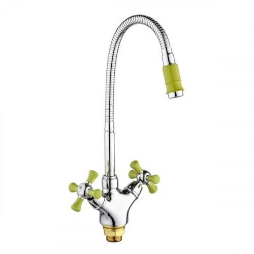 Смеситель для кухни с высоким изливом, зеленый/хром, SL92GR-279F, РМС